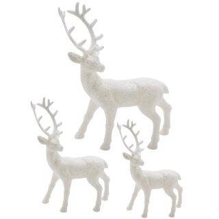 trendiger dekorativer Glitzer - Hirsch Weihnachtshirsch in weiß mit weißem Glitzer