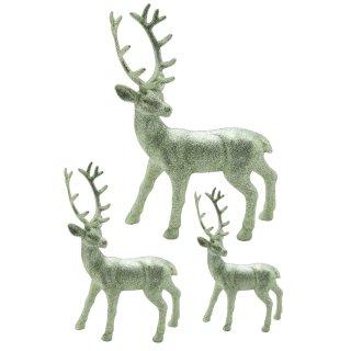 trendiger dekorativer Glitzer - Hirsch Weihnachtshirsch in salbeigrün