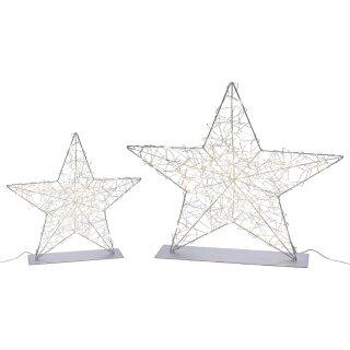 stimmungvoller LED beleuchteter Deko-Stern als leicht bauchige Silhouette zum stellen Metall silberfarbig für innen