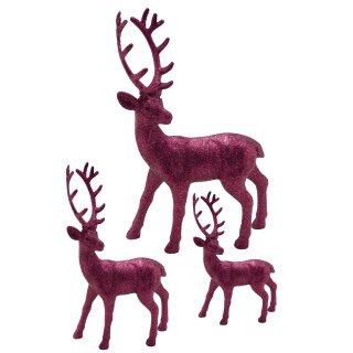 trendiger dekorativer Glitzer - Hirsch Weihnachtshirsch in samtpink