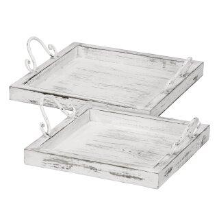 dekoratives Tablett als 2-er Set quadratisch im vintage Landhaus-Stil shabby weiß
