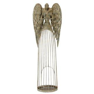 großer nostalgischer stimmungsvoller Deko Engel als Windlichtengel Metall grau antik shabby Optik