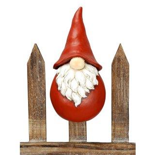 winterlicher dekorativer Zaunhocker Nikolaus Santa Winterwichtel Polyresin rot-weiß bemalt