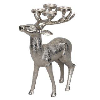 großer dekorativer Hirsch als Kerzenhalter für 4 Kerzen Aluminium silber glänzend