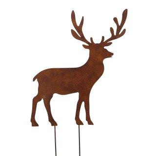 großer dekorativer weihnachtlicher Deko-Stecker Garten-Stecker Hirsch rostoptik