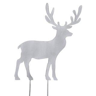 großer dekorativer weihnachtlicher Deko-Stecker Garten-Stecker Hirsch Metall hellgrau