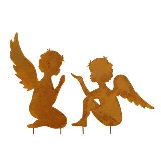 stimmungsvoller großer Deko-Stecker Garten-Stecker Motiv Engel als flache Silhouette Metall rostig Preis für 1 Stück