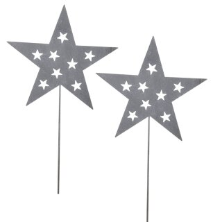 weihnachtlicher stimmungsvoller Deko-Stecker Garten-Stecker Stern Metall hellgrau 2 Stück