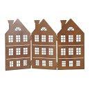dekorative Silhouette Häuserzeile 3 Häuser als Paravent Metall rostoptik