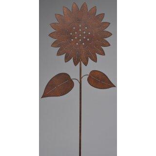 dekorativer Gartenstecker Sonnenblume Metall rostoptik