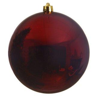 große dekorative winterliche bruchfeste Weihnachtskugel ochsenblutrot glänzend 14 cm