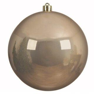 große dekorative winterliche bruchfeste Weihnachtskugel toffeebraun glänzend 14 cm
