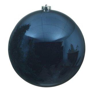 große dekorative winterliche bruchfeste Weihnachtskugel nachtblau glänzend 14 cm
