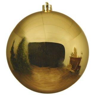 große dekorative winterliche bruchfeste Weihnachtskugel gold glänzend 20 cm