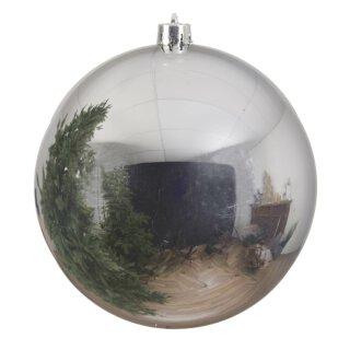 große dekorative winterliche bruchfeste Weihnachtskugel silber glänzend 20 cm