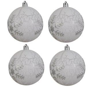 4er Set Kugelmix 8 cm weiß Crackle mit silberner Glitzerschneeflocke PVC Weihnachtskugeln Baumschmuck bruchfest Christbaumschmuck
