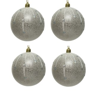 4er Set Kugelmix 8 cm rauhe Metalloptik in silber mit irisierendem Glitzer PVC Weihnachtskugeln Baumschmuck bruchfest Christbaumschmuck
