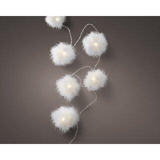 dekorative LED Lichterkette Girlande mit fluffigen weißen Federbällchen und 8 LEDs warmweiss mit Timerfunktion