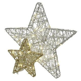 stimmungvoller LED beleuchteter Deko-Stern silber - gold batteriebetrieben mit Timerfunktion groß
