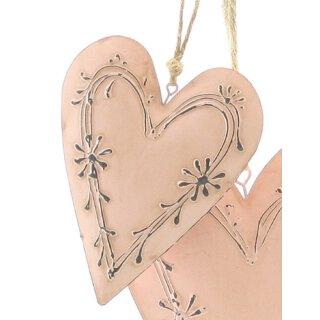 dekorativer Anhänger Herz im Landhaus Vintage Stil Metall rosa