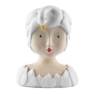Ladykopf Dame mit Schwan als Hut