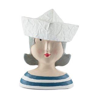 Ladykopf Dame mit Boot als Hut