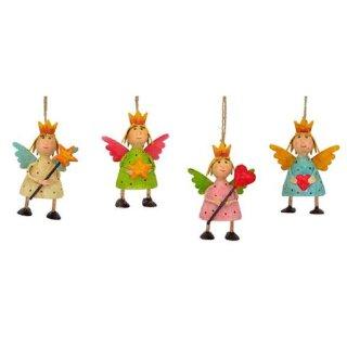 putziger kleiner Anhänger Engel Lilli mit Pünktchen, Krönchen und Flügelchen Metall handbemalt