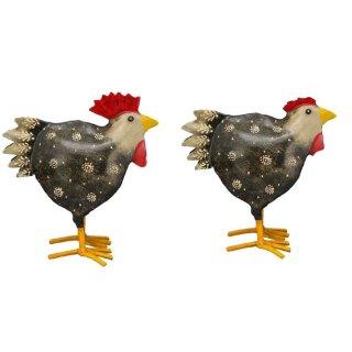 dekorativer Hahn und Huhn schwarz-bunt Metall bemalt Preis für 2 Stück