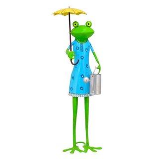 lustiger Dekofrosch Gartenfrosch Dekofigur Froschmädchen mit Schirm und Gießkanne Metall bemalt