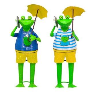 lustiger Dekofrosch Gartenfrosch Dekofigur Frosch mit Handy Metall bemalt