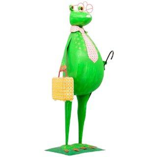 lustiger Dekofrosch Gartenfrosch Dekofigur Frosch mit Koffer und Schirm Metall bemalt