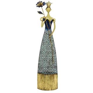 große dekorative nostalgische Dekofigur Dame mit Krone und Blume Metall blau-gold