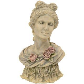 dekorativer nostalgische Dekobüste Frauenkopf mit Rosenblüten auf Postament cremegrau-antik vintage Optik