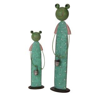 lustiger Dekofrosch Gartenfrosch Dekofigur Frosch Pippo Metall bemalt