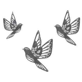 dekorativer Anhänger Deko-Hänger Fensterhänger Vogel Metall shabby grau-weiß