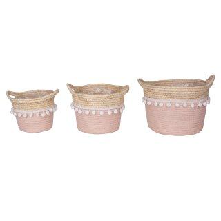 dekorativer Korb Henkelkorb mit 2 Henkeln aus Seegras in rosa mit lustigen weißen Pompoms