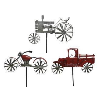 dekorativer großer ausgefallener Gartenstecker Trekker Motorrad Lastwagen Metall silber rot