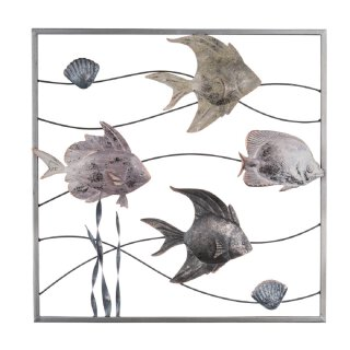 dekorative filigrane Wanddeko mit Rahmen Wandobjekt aus Metall Motiv Fische