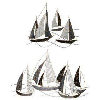 dekorative Wanddeko maritimes Wandobjekt aus Metall Motiv Segelboote