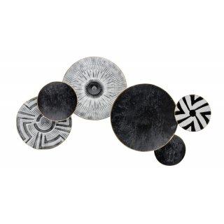dekoratives modernes Wanddeko Objekt dreidimensional aus Metall schwarz-grau-weiß mit etwas Gold