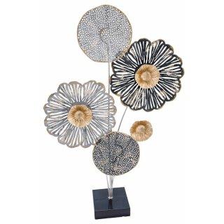 dekoratives filigranes Dekoobjekt zum stellen aus Metall schwarz-grau-gold