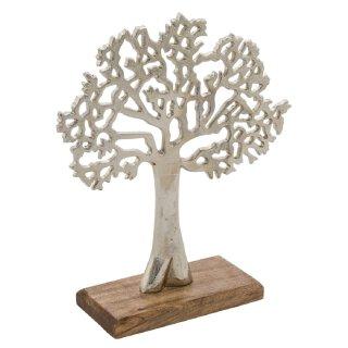 dekoratives Deko-Objekt Baum Puri aus rauem Aluminium auf Holzfuß ca. 33 cm hoch