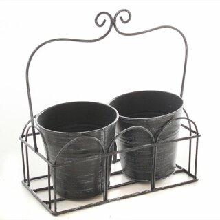 dekorativer Pflanzkorb Blumenkorb Kräutertopf mit 2 Pflanztöpfen Metall schwarzgrau Shabby Optik Landhaus