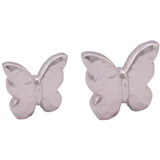 dekorativer Deko-Schmetterling Keramik blaßflieder metallic in 2 Größen