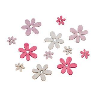 dekorative kleine Streudeko Tischdeko Blümchen rosa-creme-flieder aus Holz  im 72-er Set