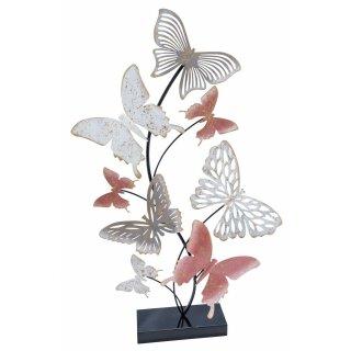 dekoratives filigranes Dekoobjekt zum stellen Motiv Schmetterlinge rosa-weiß-grau-gold