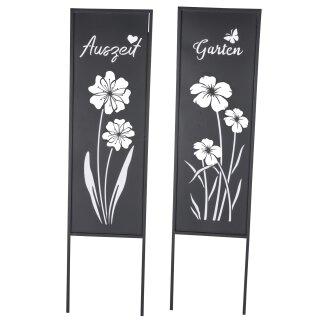 """dekorativer Gartenstecker als Gartenschild mit Schriftzug """"Garten"""" oder """"Auszeit"""" Metall grau lackiert"""