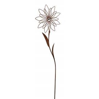 dekorativer ausgefallener Gartenstecker Blüte Metall rostig mit kleiner silberner Edelstahlkugel