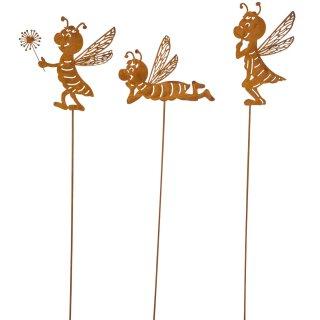 dekorativer ausgefallener Gartenstecker Silhouette Biene 3 Motive sortiert Metall rostig