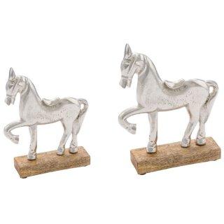 dekorative Dekofigur Pferd Aluminium silberfarbig leicht raue Oberfläche auf Holzsockel